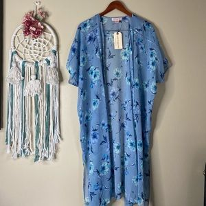 Band of Gypsies Floral Kimono Duster Blue Size S